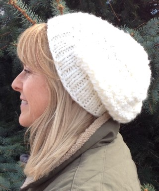 Knit Beanie Slouch Hat Pebbly Off White